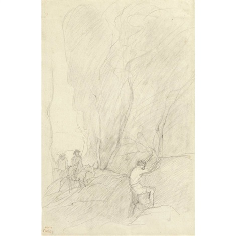cavalier et boûcheron by jean-baptiste-camille corot