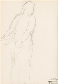 figural outline; mother and child study (2 works) by mary cassatt