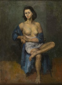 sitting semi-nude by moses soyer