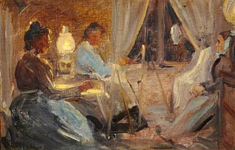 interior with two women painting ane brøndum the painters mother in law by michael peter ancher