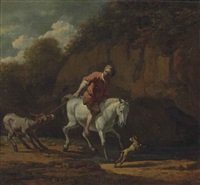 a rocky, wooded landscape with a man on a horse pulling a donkey across a stream by karel dujardin