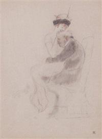 vieil homme et jeune femme dans un fauteuil by armand rassenfosse