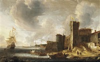 an italianate harbourscene with the dutch fleet at bay by jan abrahamsz beerstraten
