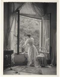 madame misonne devant sa fenêtre by léonard misonne