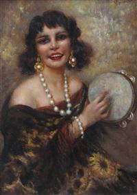 suonatrice di tamburello by giuseppe maldarelli