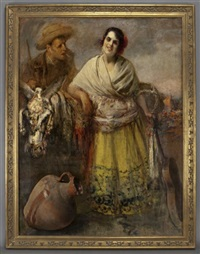 andalusian woman with guitar by josé arpa perea