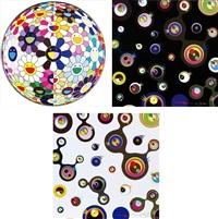 flowerball (3d) from the realm of the dead/ jellyfish eyes - black 3/ jellyfish eyes - white 2 (set of 3) by takashi murakami