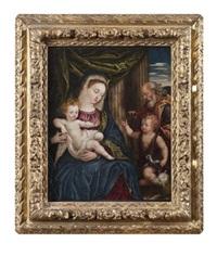 vierge à l'enfant avec saint jean baptiste et saint joachim by domenico tintoretto