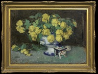 yellow roses and porcelain box by alfons karpinski