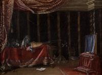 compositions d'armures, pièces d'orfèvreries, bouquet de fleurs et instruments de musique dans de riches intérieurs (pair) by francesco fieravino (il maltese)