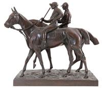 deux jockeys à cheval. epreuve d'époque en by joseph cuvelier