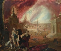 the flight of aeneas, with the fall of troy beyond by johann liss