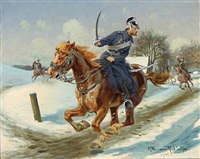 dragoons on horseback, winter time by karl frederik christian hansen-reistrup