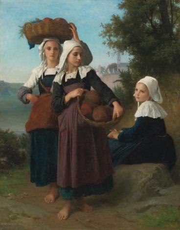 jeunes filles de fouesnant revenant du marché by william adolphe bouguereau
