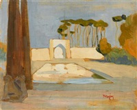 landscape with reflecting pool by konstantinos maleas