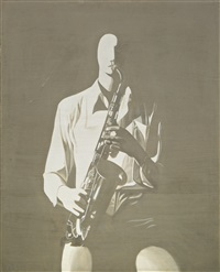 pause (front view of the saxophonist) by zhang peili