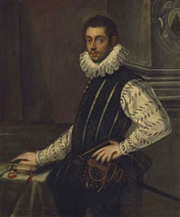portrait of a young nobleman, three-quarter-length, in a doublet and a ruff, resting his right hand on books, standing in an interior by domenico tintoretto
