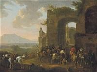 horsemen at rest before ruins, an extensive landscape beyond by philips wouwerman