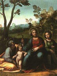 die heilige familie mit der heiligen katharina in landschaft by girolamo da treviso the younger