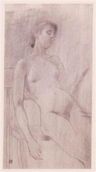 jeune femme nue assise, les yeux clos by armand rassenfosse
