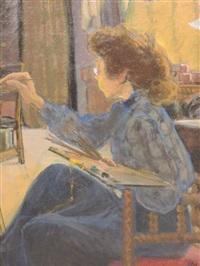 peintre dans son atelier by jean puy