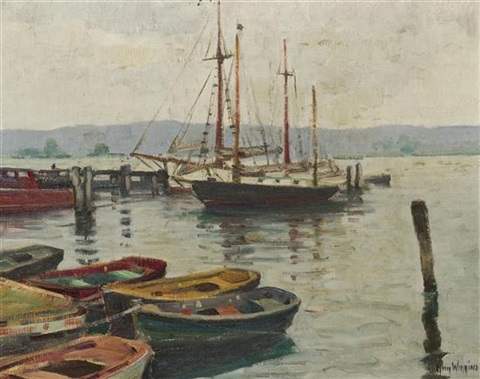 grey weather on the connecticut river by guy carleton wiggins