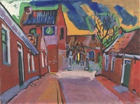 a village street, ezinge - groningen by jan van der zee