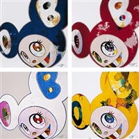 and then x6 blue/ and then x6 red/ and then x6 (white: the superflat method, pink and blue ears)/ and then, and then and then and then and then. yellow universe (set of 4) by takashi murakami