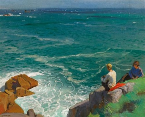 the green sea lamorna by dame laura knight