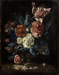 roses, a tulip, a carnation and other flowers in a gilt bronze mounted bowl on a marble ledge with a snail, a red admiral butterfly and other insects by nicolaes lachtropius