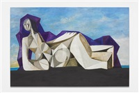 grey nude/purple cape by george condo
