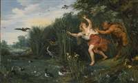landscape with pan and syrinx by sir peter paul rubens and jan brueghel the younger