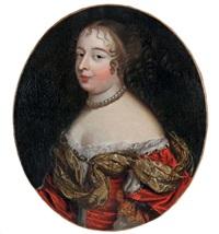 portrait de femme en décolleté et habit de soie rouge (identifié oralement comme henriette d'angleterre) by french school (17)