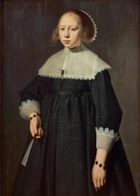 portrait de jeune fille tenant un éventail by dirck dircksz van santvoort