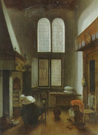 an interior of a house with a seated woman by jacobus vrel
