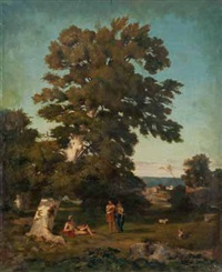 scène mythologique sous un arbre by théodore claude félix caruelle d' aligny