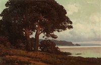 coastal landscape with oak trees by carl kenzler