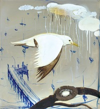 seagull over lavender bay by brett whiteley