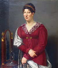 portrait de femme a la robe rouge by henri françois riesener