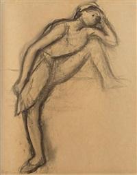 danseuse en maillot, tenant un éventail by edgar degas
