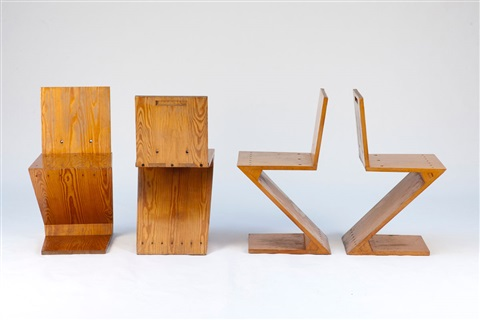 vier zigzag stühle set of 4 by gerrit rietveld