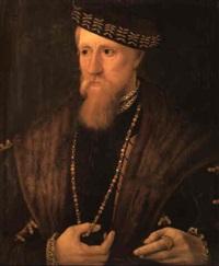 portrait of a gentleman wearing a fur cape, chain and cap by steven van der meulen