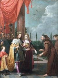 le père dominique de jésus marie ruzzola remettant le scapulaire à ferdinand ii du saint empire et à sa femme eléonore de mantoue, durant la guerre de trente ans by david teniers the elder