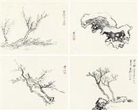 仿宋人山水 (4帧) (4 works) by huang binhong