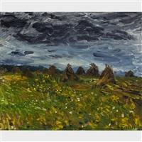 oat field under a dark sky by william goodridge roberts