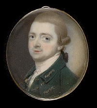 a gentleman, wearing green coat and waistcoat trimmed with gold braid and white stock, his powdered hair worn en queue by thomas day