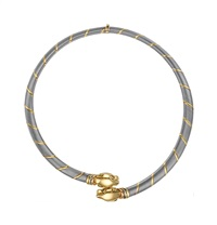 gold and steel panther necklace by cartier