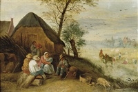 peasants resting during the harvest by abraham teniers