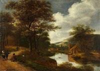 paysage fluvial avec un chasseur au canard by pieter jansz van asch