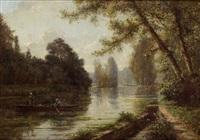 paysage barque sur la rivière by charles félix edouard deshayes